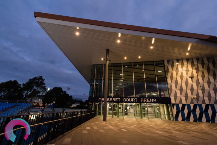 Margaret Court Arena Exterior at dusk