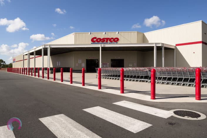 Exterior of the Costco North Lakes store in Northern Brisbane, QLD. Showing the hundreds of trolleys out the front, ready for shoppers. Professional Commercial architecture photography Brisbane.